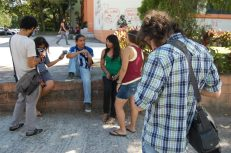 March 2012 - Interviewing University students in El Salvador for our documentary project on Child Prostitution and Sex Trafficking.