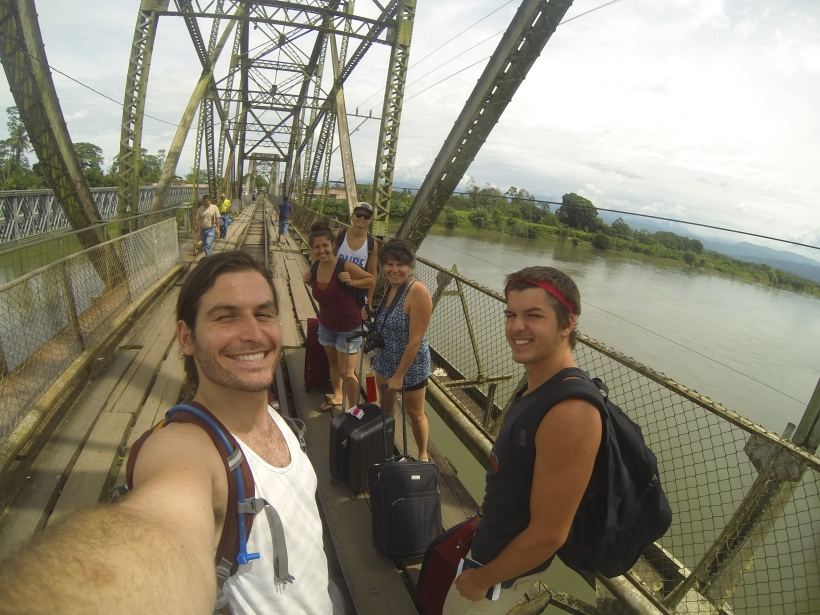 Crossing the border from Costa Rica into Panama. Literally the border crossing is this old railroad bridge, with wooden planks to walk across.