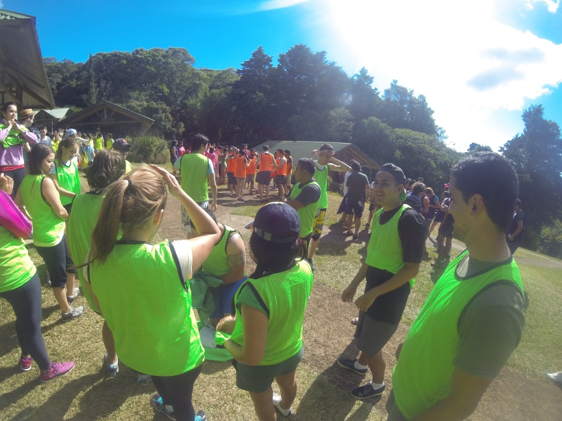 "Our team in the green were the ""Rocos"" which means the ""old people"". Never thought that day would come at a youth camp."