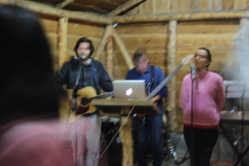 Blurry picture of me leading worship one of the mornings.