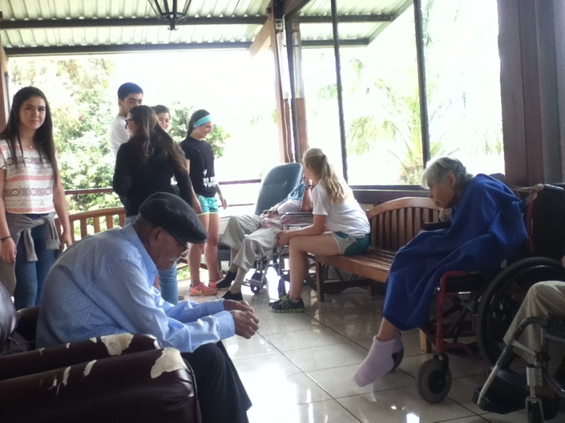 Spending time visiting with the elderly.