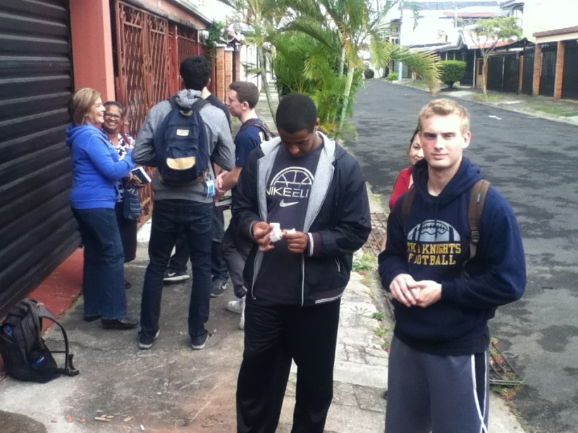Some of the guys from the team hanging out after bible distribution.