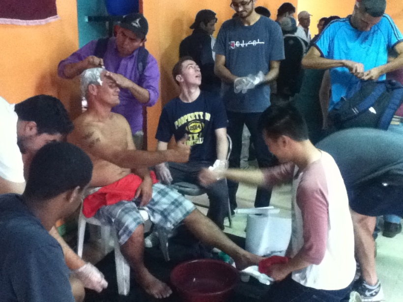 Station 3 was foot washing along with beard shaving for the men.