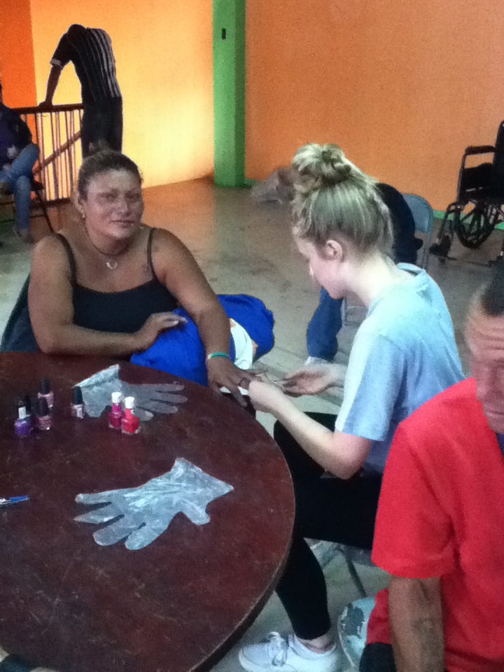 Station 5 for the women was manicures and pedicures.