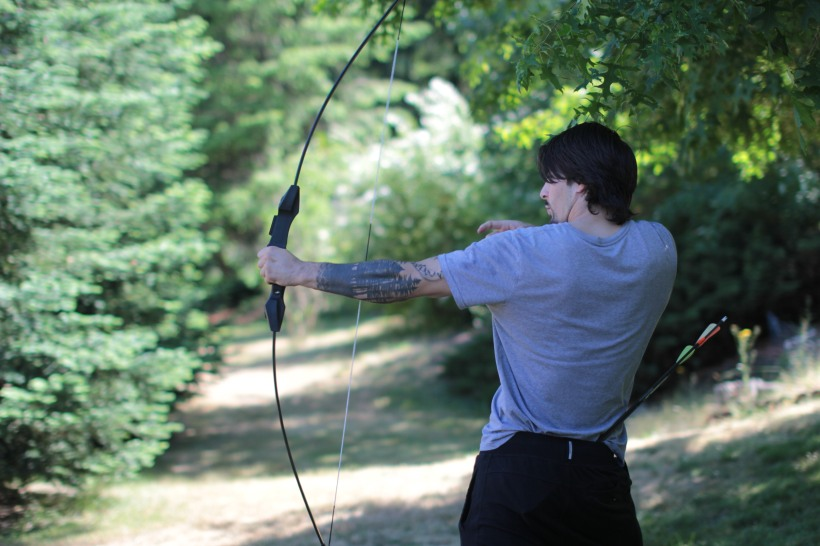 My little bro getting his bow game on.