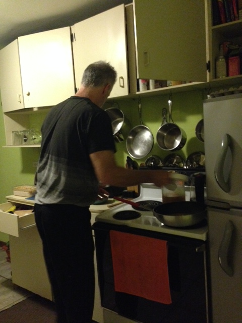Dave cooking his first meal in years (his words).